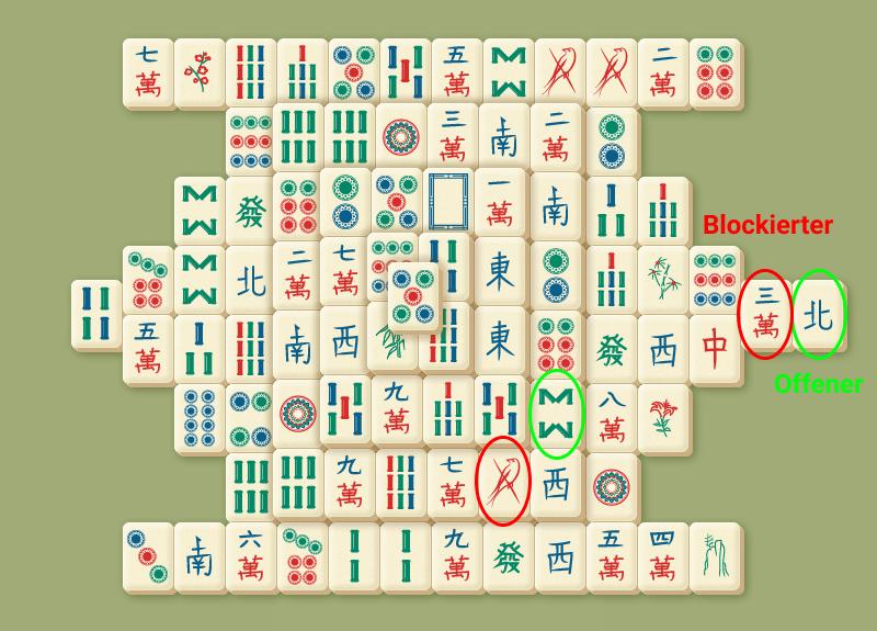 Offene Spielsteine und Blockierte Spielsteine
