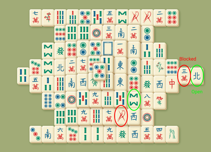 Open and blocked tiles in Mahjong
